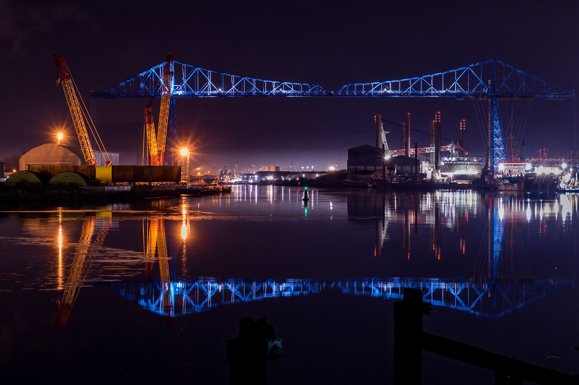 Transporter Bridge Reflections - The Transporter Bridge Reflection. by AJ Stoves Photography