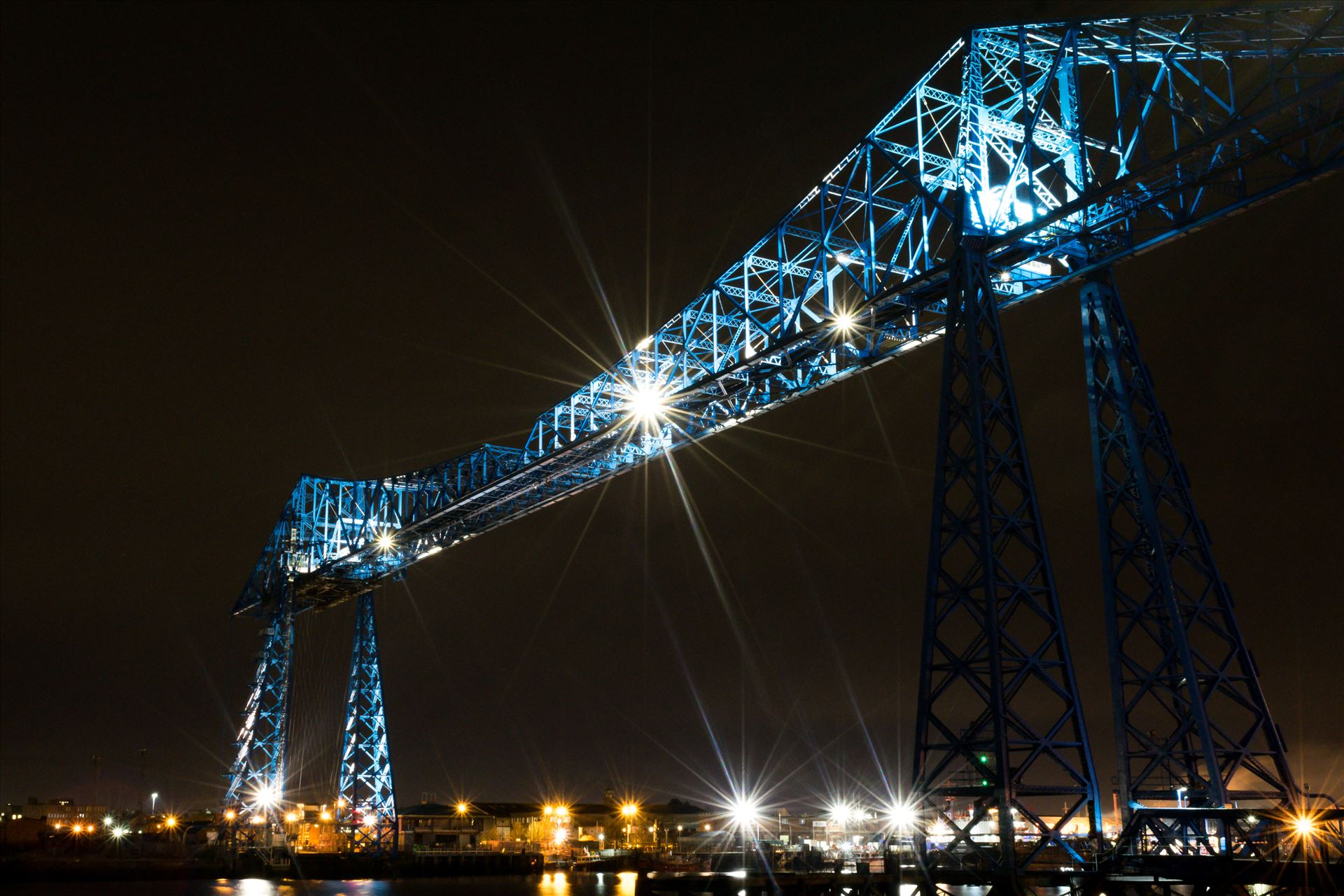 Transporter Bridge Post Clarence At Night - One of the most famous bridges in the Uk The Transporter Bridge at night by AJ Stoves Photography