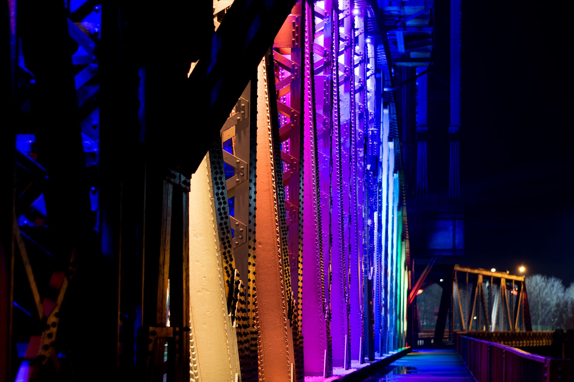 Newport Bridge Christmas Lights - Newport Bridge Rainbow Lights by AJ Stoves Photography