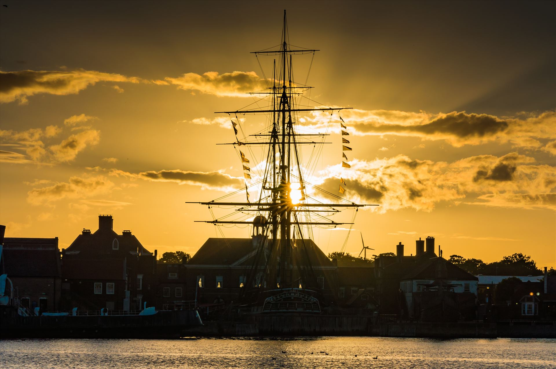 HMS Trincomalee Hartlepool Sunset - HMS Trincomalee at sunset in the lovely seaside town of Hartlepool. by AJ Stoves Photography