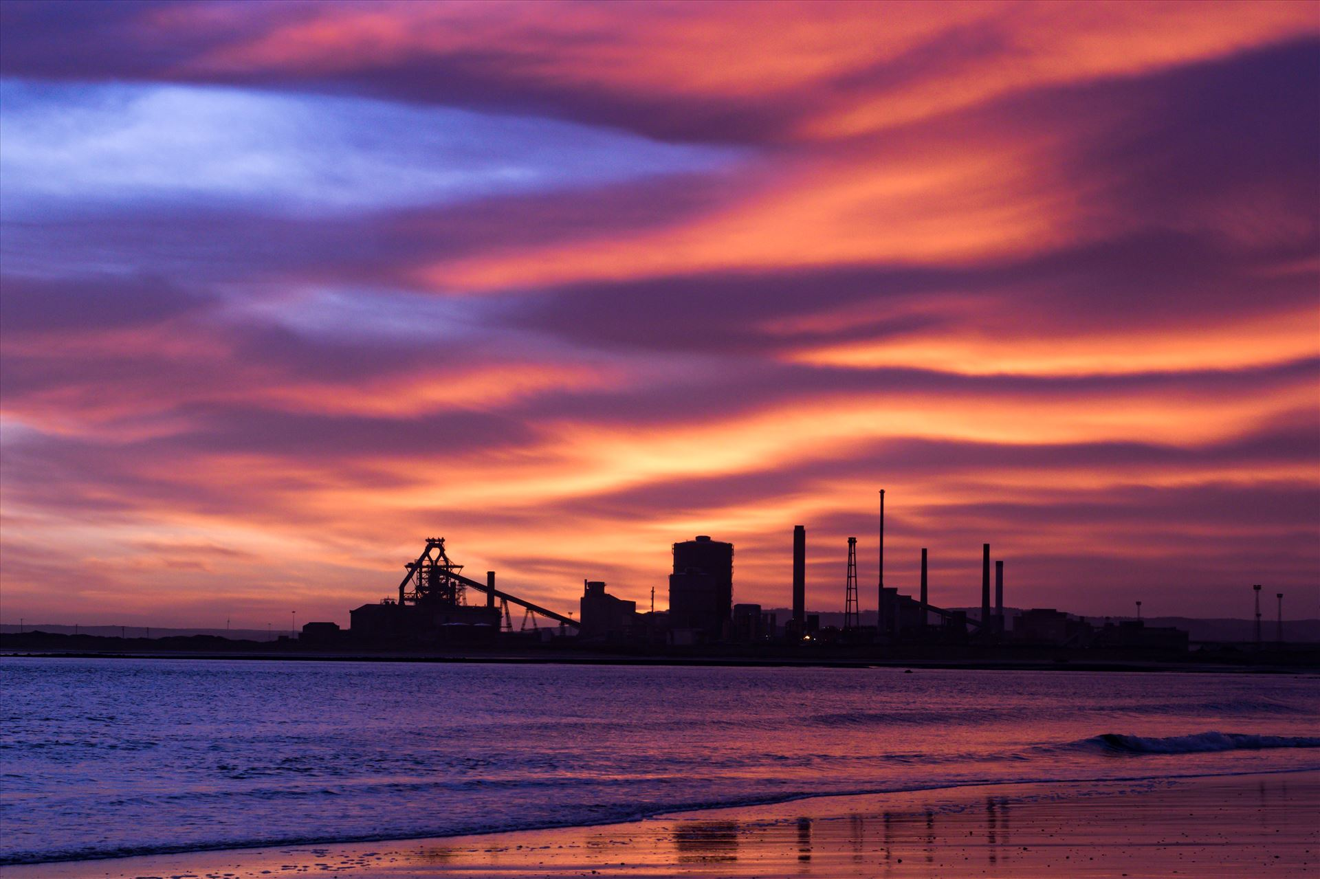 SSI Redcar Steel Works Sunrise, just the hint of blue - Taken on the 2/01/18 on a very cold Seaton Beach looking over the river to SSI Redcar Steel Works. with a hint of Blue skys by AJ Stoves Photography