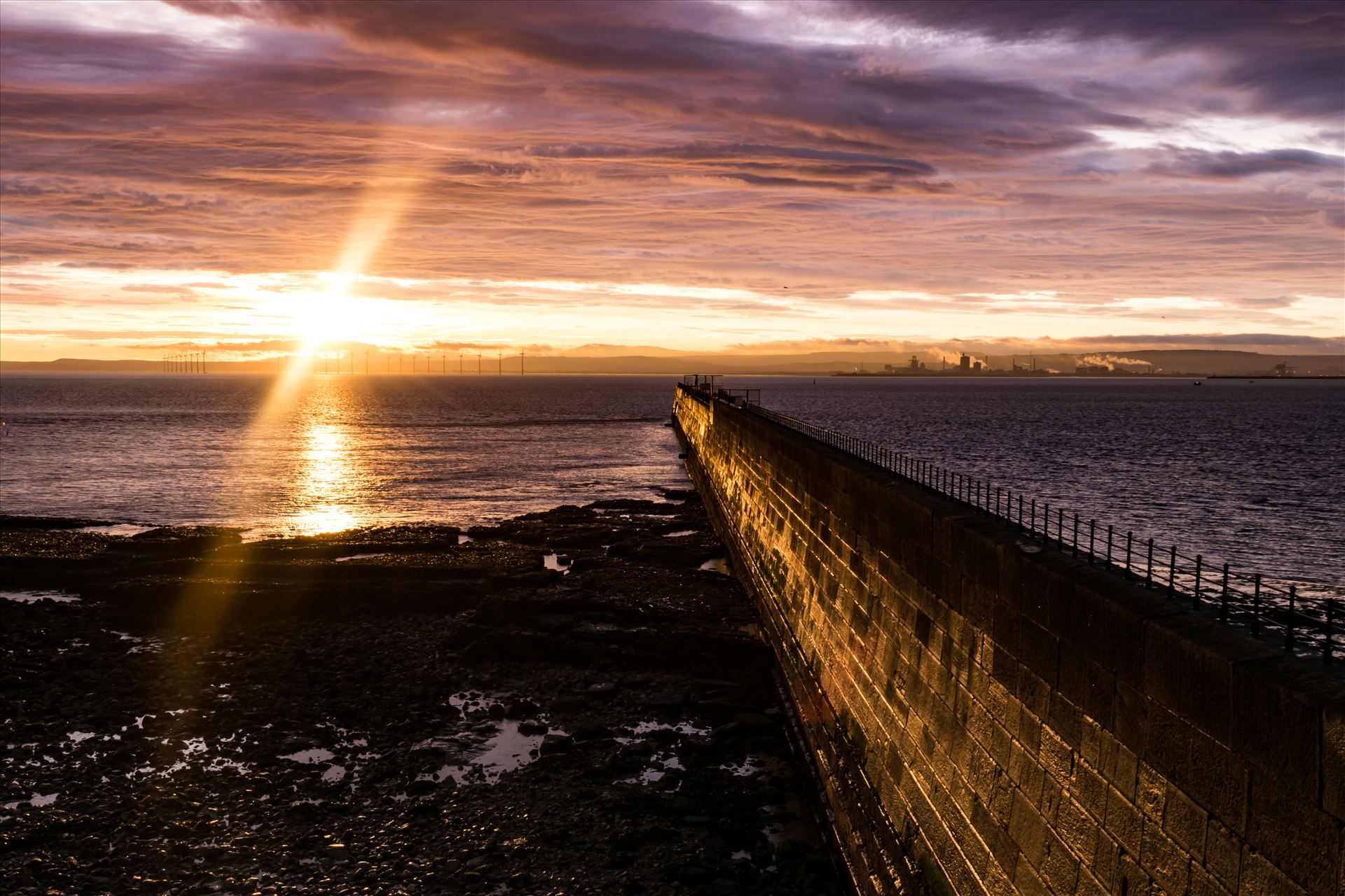 Headland Sunrise Breakwater - The Breakwater at Hartlepool Headland at sunrise by AJ Stoves Photography
