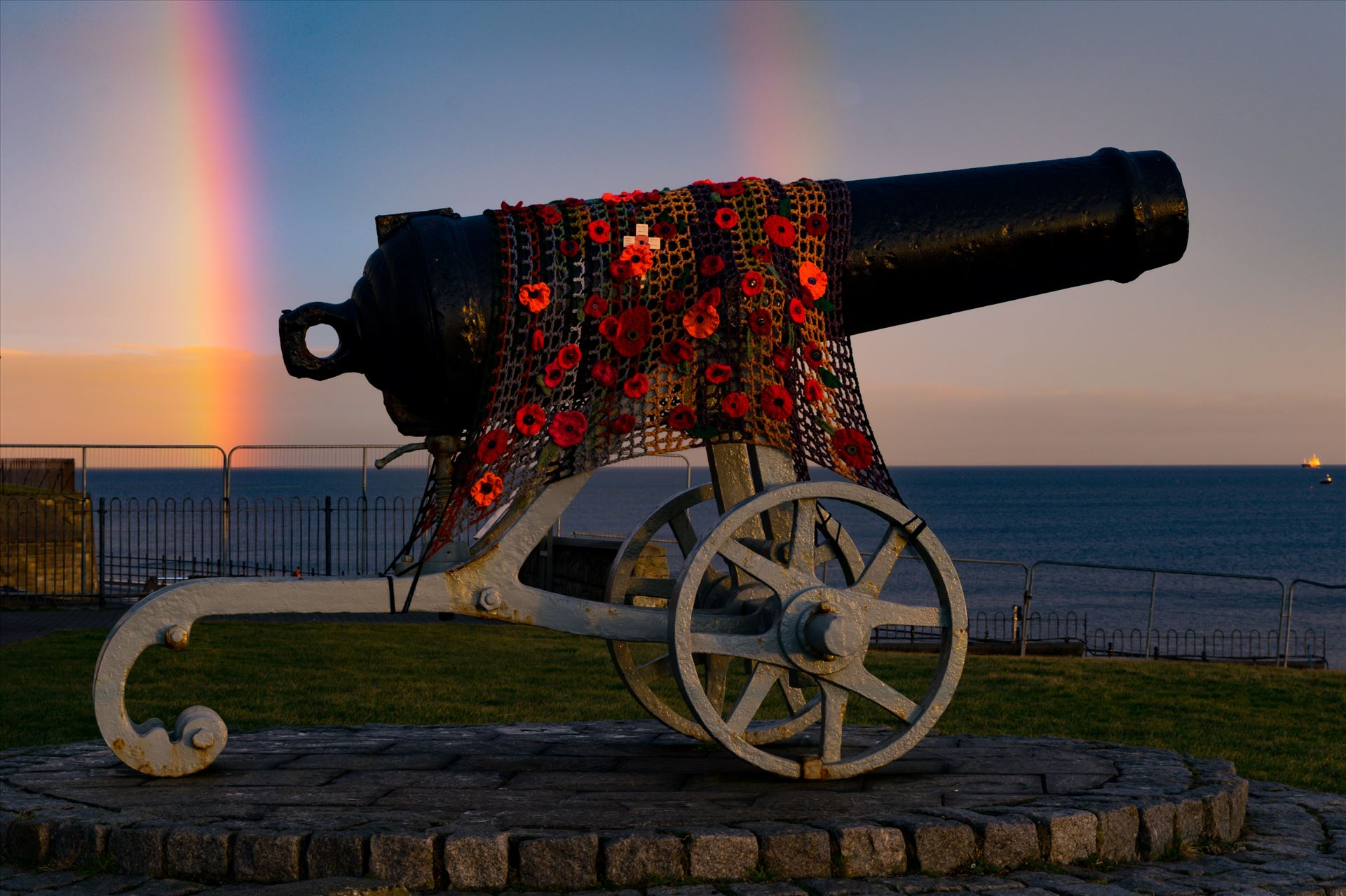 Cannon Double Rainbow - The Cannon at Hartlepool Headland with a Double rainbow behind it by AJ Stoves Photography