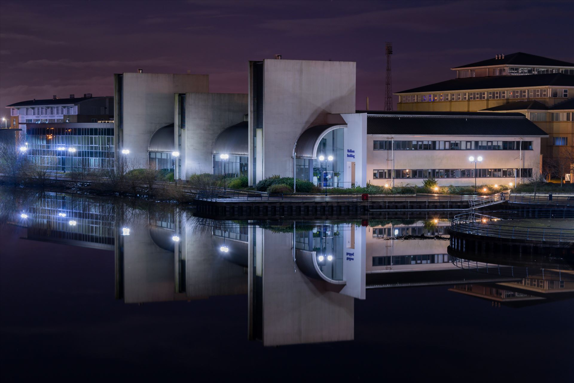 Wolfson Building, Queen\'s Campus, Durham University - Taken on the Infinity Bridge on the 1st January 2018, couldn't believe how flat and still the water was this night by AJ Stoves Photography
