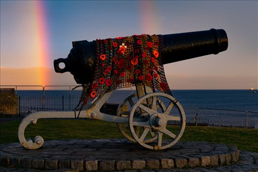 Cannon Double Rainbow - The Cannon at Hartlepool Headland with a Double rainbow behind it